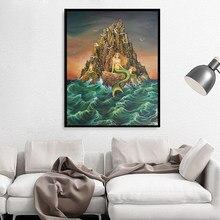 Peinture sur toile avec les sirènes, affiche d'art Fine, déesse de la mythologie, Art Nouveau, décor de maison