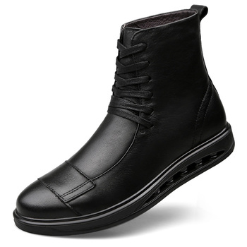 2019 Hot Brand Men's Boots Genuine Leather Winter Autumn Shoes Motorcycle Mens Ankle Boot Couple Oxfords Shoes Big Size 35-46