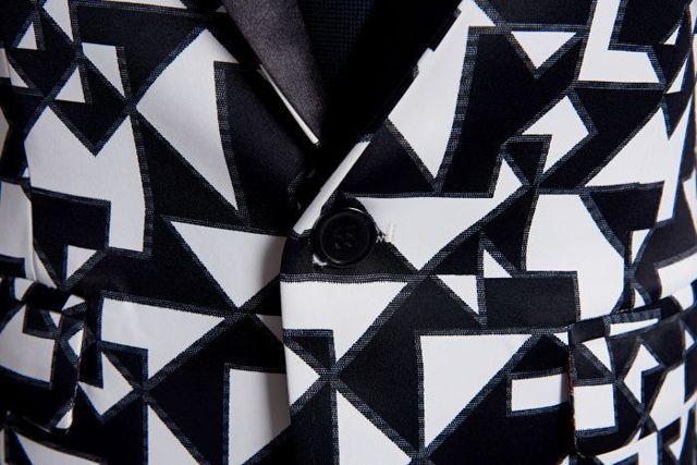 Black White Triangle Pattern Blazer Slim Fit Designs  5