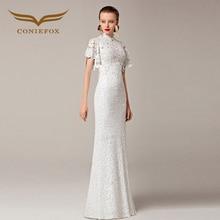 2016 Coniefox Trumpet New Styles Beaded Lace Mermaid White Wedding Prom Evening  Elegant Jersey  robe de soiree Long Dress 31211