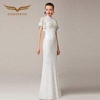 2018 Coniefox Trumpet New Styles Beaded Lace Mermaid White Wedding Prom Evening Elegant Jersey robe de soiree Long Dress 31211