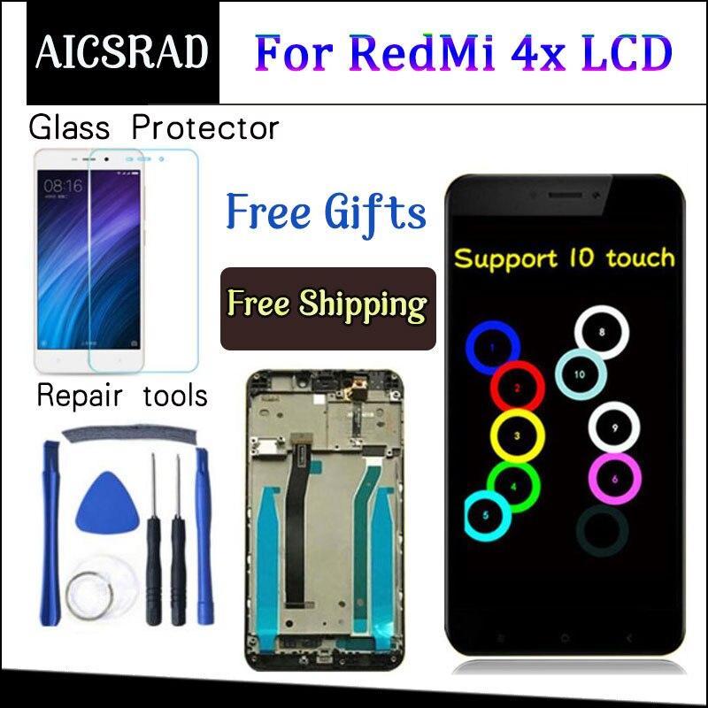 Дигитайзер в сборе для For Xiaomi Redmi 4X, ЖК-дисплей, замена сенсорного экрана, с рамкой, для Xiaomi Redmi 4X, Pro, Prime, 5,0 дюйма