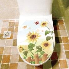 Бабочка, Подсолнух, наклейка на стену для ванной комнаты, домашний декор, крышка для туалета, украшения, Переводные водонепроницаемые изображения на стену, наклейки для туалета