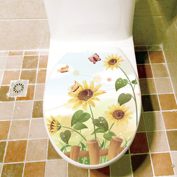 Butterfly Sunflower Bathroom Wall Sticker Home Decor Toilet Lid Decoration Wall Decals Waterproof Toilet Stickers Free Shipping