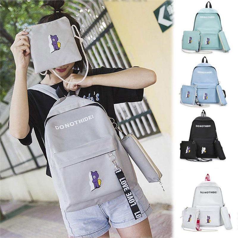 3pcs/Set Backpack Women Canvas Travel Bookbags School Bags for Teenage Girls couples blanket