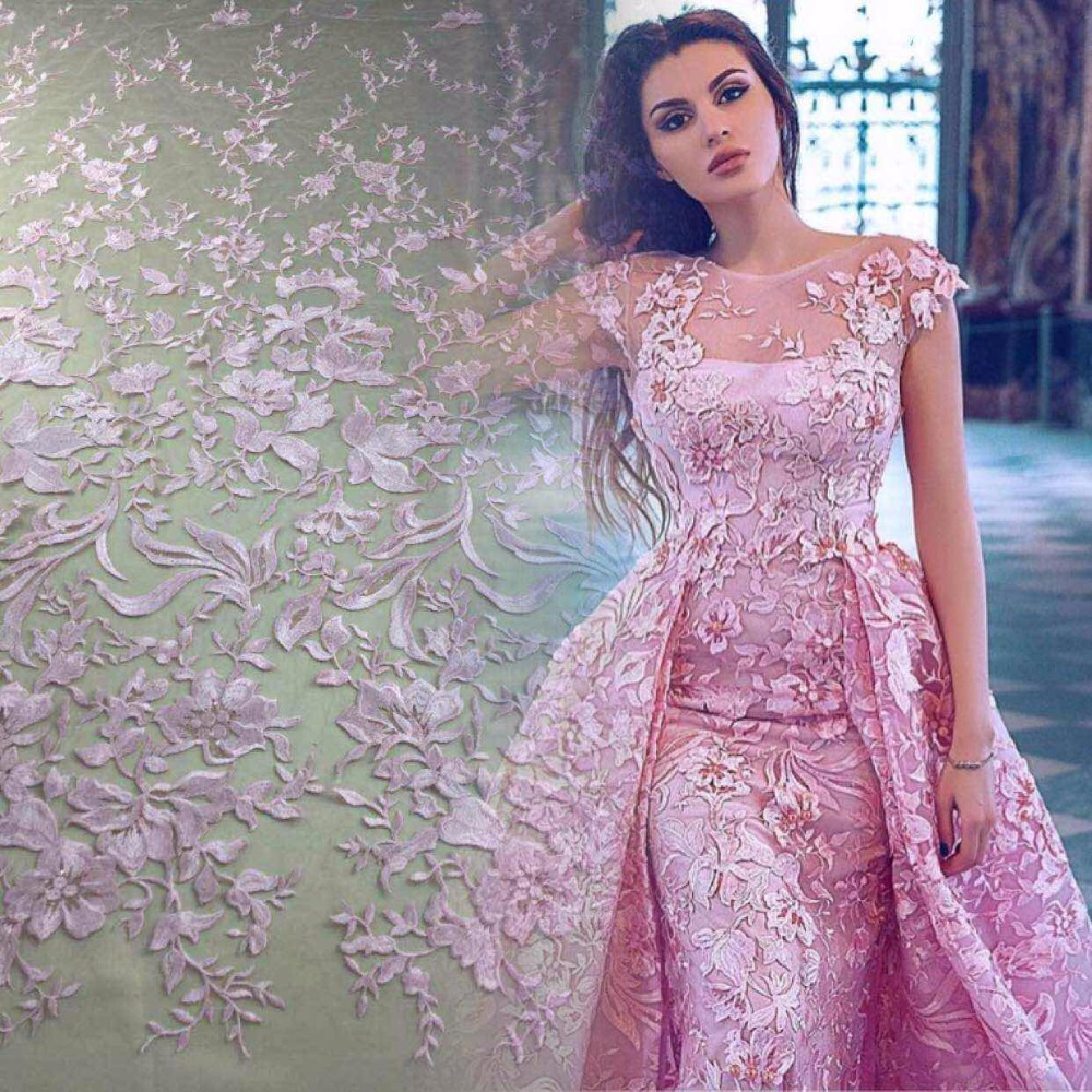 5yards MM001 stock best quality light pink sequin flower embroidery tulle mesh lace fabric for bridal gown wedding dress