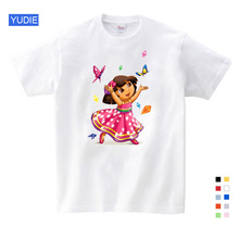 2019 Kids Summer Solid Color Dora Girls Sweet and Lovely Style T Shirt Cute Cartoon Dora The Explorer Girl Summer Tops YUDIE dora the explorer little girls ballet dance pajama set