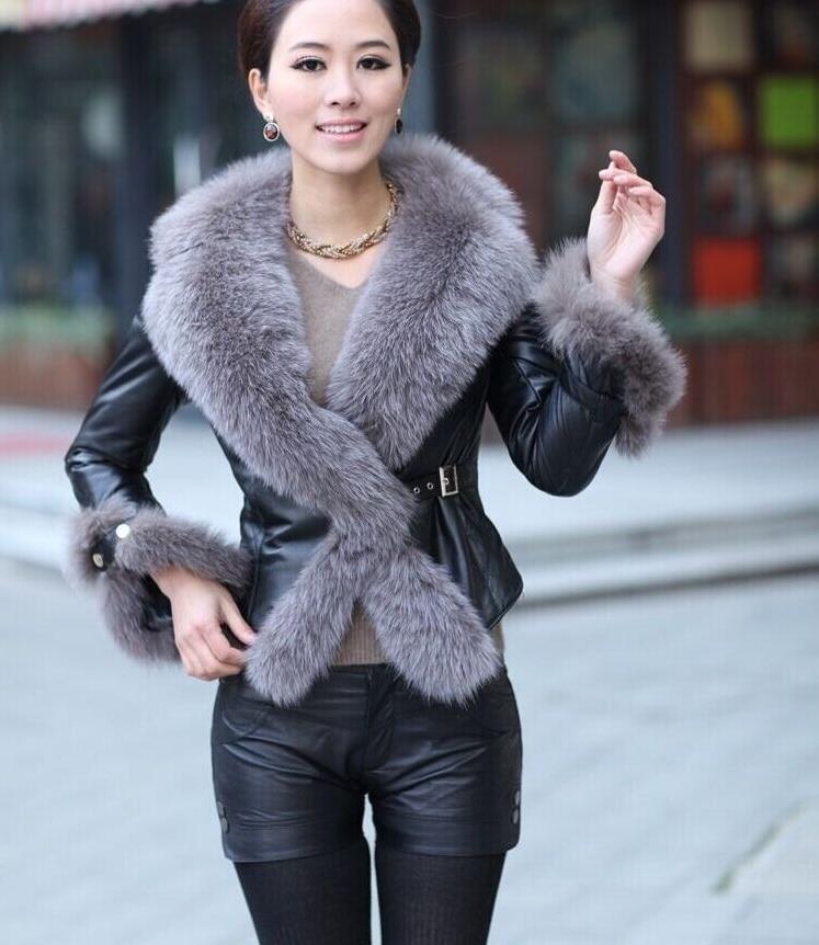 Winter Hot Sale Elegant Ovine PU Leather Fox Fur Collar Slim Long sleeved Short Jacket Fur