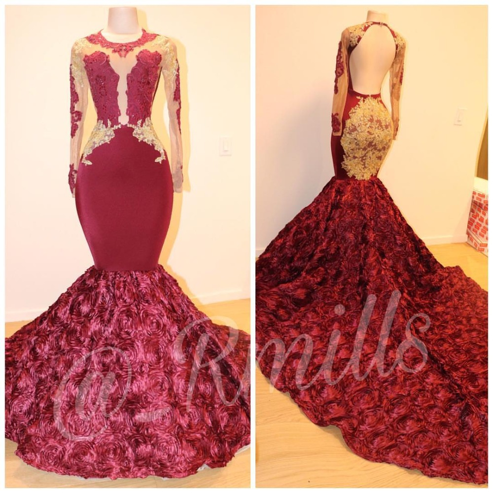 2019 Burgundy Sexy Women Mermaid   Prom     Dresses   Gold Applique Lace Split Side High Neck Long Slim Evening Gowns Special Occasion