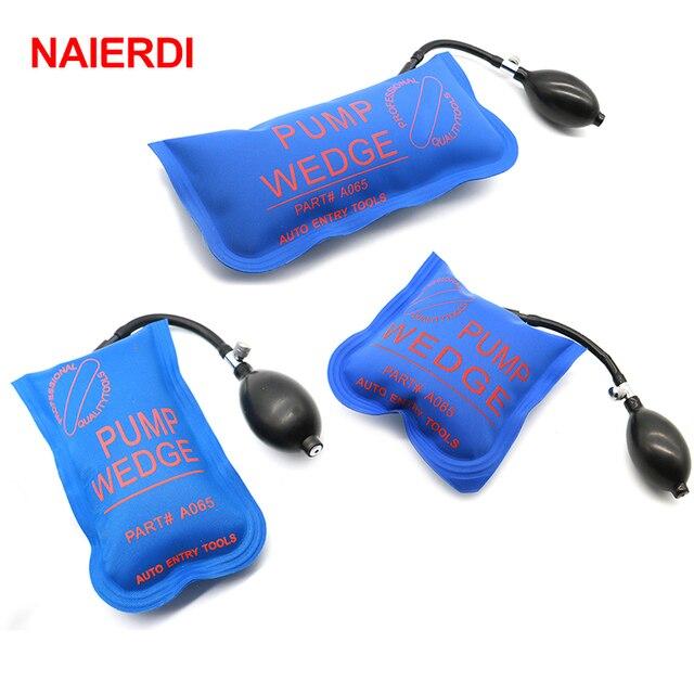 New Price 3PCS Blue NAIERDI Pump Wedge Locksmith Tools Full Size Auto Air Wedge Airbag Lock Pick Set Open Car Door Lock Hardware Tool