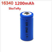 10 PCS 16340 battery Accus Rechargeable CR123A LR123A 3V 1200mAh Free Shipping