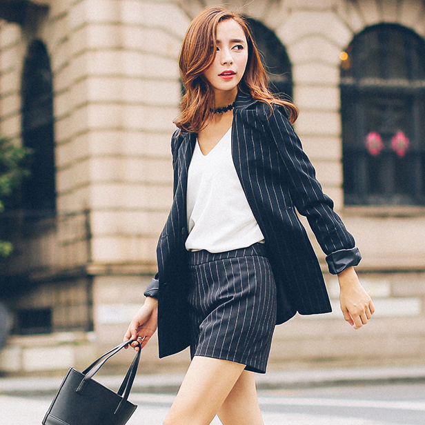autumn ladies black and white vertical striped blazer and shorts ...