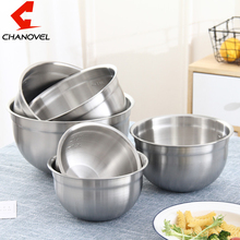 CHANOVEL Deep 304 Stainless Steel Sanding Mixing Bowls with Scale Egg Beating Pan Salad Bowl Kitchen Tools for Baking Mixer