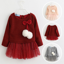 Toddler Girl Dress New Autumn Winter Long Sleeve Fake 2pcs Party Dress Girl Kids Princess Dress Suit for 6M-24M Baby Girls spring autumn cute baby kids girls party dress kids clothes cotton toddler girl clothing long sleeve baby girl princess dress