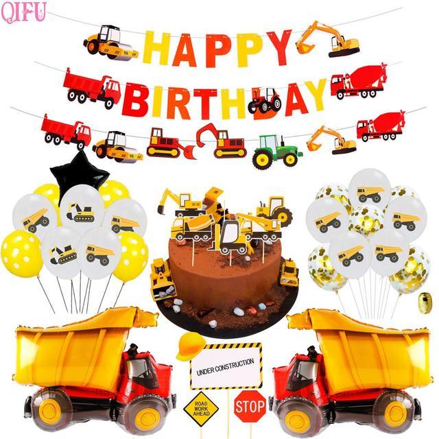 زخرفة حفلة البناء شاحنة سيارة حفلة عيد ميلاد ديكور جرار حفارة سيارة البناء لوازم حفلة عيد ميلاد