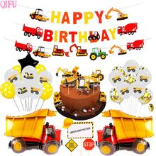 Construction Engineering Car Theme Birthday Party Decoration Kids Construction Vehicle Excavator Balloons Party Decor Supplies