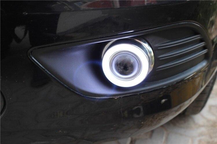 eOsuns Innovative COB angel eye led daytime running light DRL + halogen Fog Light + Projector Lens for ford focus sedan