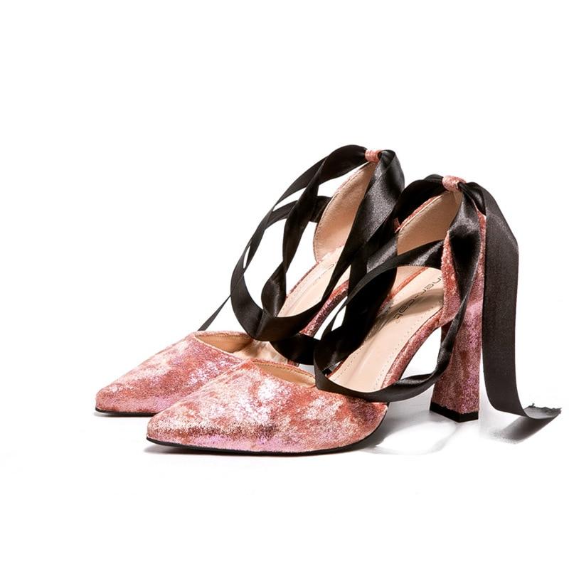 rosado Moda Tacón Verano Mujer Para Moño Nueva 2018 De Zapatos Cinta Puntiagudas Con Gruesas Negro Pw0xaRq