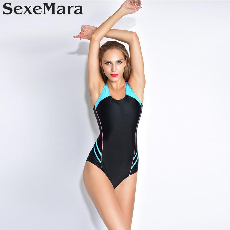 Fekete sport egy darab fürdőruha fürdőruha nők szexi backless - Sportruházat és sportolási kiegészítők