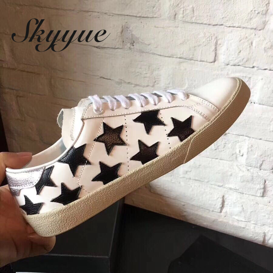 SKYYUE New Genuine Leather Lace Up Women Casual Flats Top Quality Brand Round Toe Comfortable Star Flats Shoes Women foreada genuine leather shoes women flats round toe lace up oxfords shoes real leather casual boat shoes brown pink size 34 40