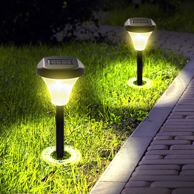 Solar Ground Lights Upgraded Garden Pathway Light Outdoor Waterproof With 2 Led For Driveway Deck