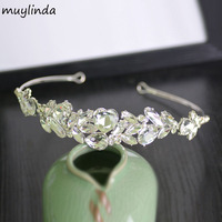 Clear Rhinestone Flower Bridal Hair Tiara Metal Classic Wedding Hair Jewelry Women Hair Tiara