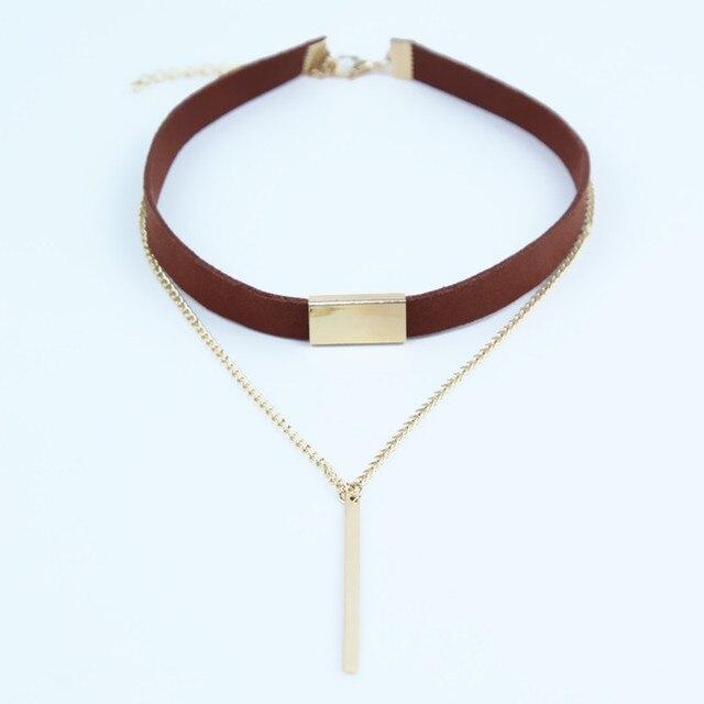 2017 New Black Brown Velvet Choker Necklaces Jewelry square Gold Colour strip St