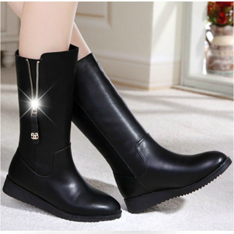 Winter women snow boots fashion zip pu leather black mid calf boots platform ladies shoes plus size chaussures femme botas mujer cocoafoal women s fashion black height lncreasing snow boots winter platform plus size snow boots green gray mid calf snow boots