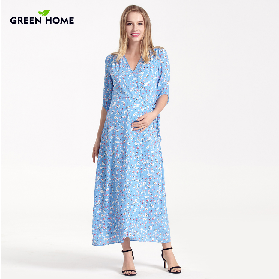 Green Home Winter Fashion Maternity Dress Pregnant Women Special Design Maternity Clothes Floral Print V-Neck Nursing Dresses blue floral print v neck slit design long sleeves dress