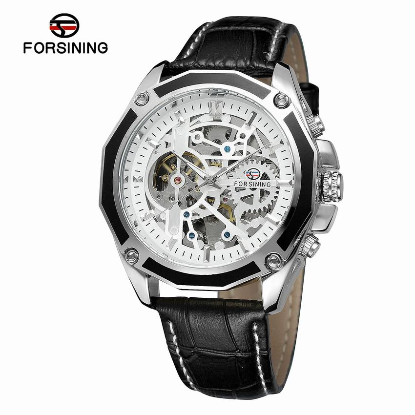 Forsining Transparent Case Skeleton Mechanical Sport Watch Men's Automatic Leather Strap Waterproof Wristwatch + Box все цены