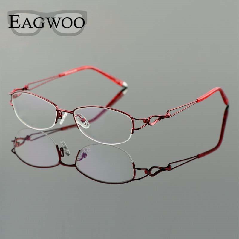 Image 4 - Metel Alloy  Eyeglasses Half Rim Optical Frame Prescription Women Spectacle Reading Myopia Flower Eye Glasses Purple Blue  52223-in Women's Eyewear Frames from Apparel Accessories