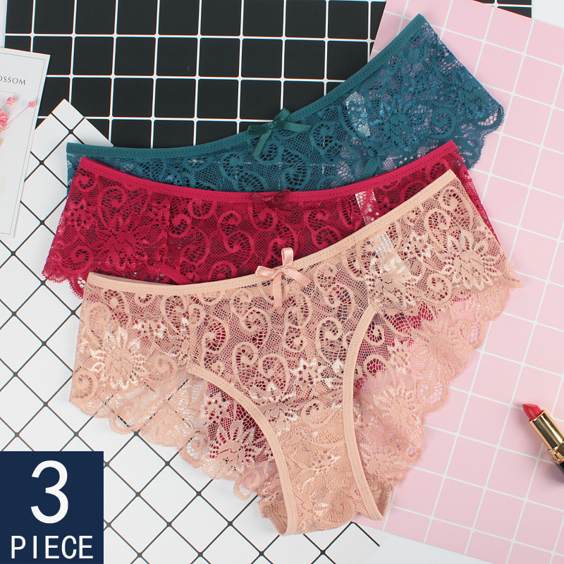 3 Pieces   Panties   Woman Briefs Sexy Lace Seamless Low Waist Breathable   Panty   Transparent   Panties   Underwear For Women New BANNIROU