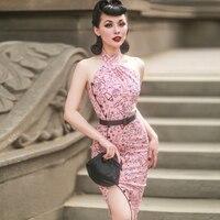 le palais vintage 2018 Stylish Vintage Halter Backless Dress Slim High Rise Type Designed Satin Fabric Decoration Side Slits