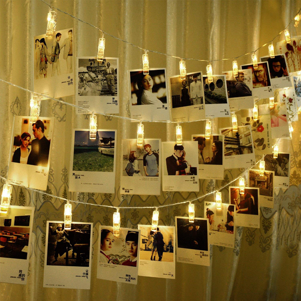 LED Photo Clip String Lights 5M 20 Clips 220v Plug Warm White LEDs Operated Fairy  Bedroom Home Decoration For Hanging Photos