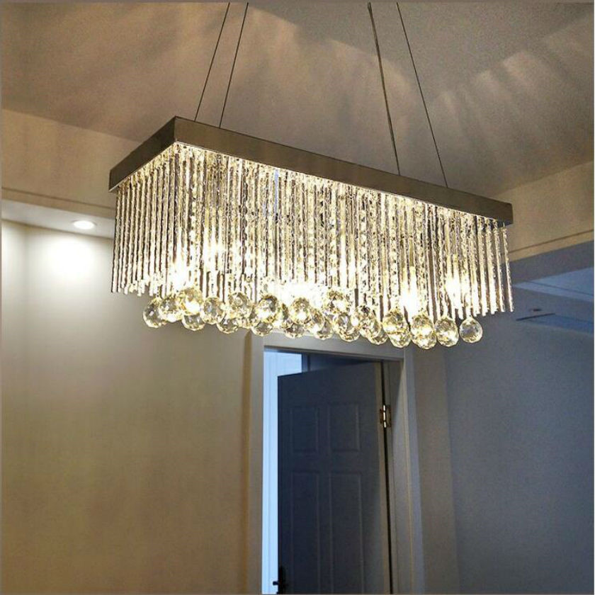 Contemporary Pendant lamps Crystal Led Rectangle Chandelier Ceiling For Foyer Living Room Lustres Hanging Lamp E14 Light Fixture top brand luxury men s watch 30m waterproof date clock male sports watch men quartz casual wrist watch silver relogio masculino