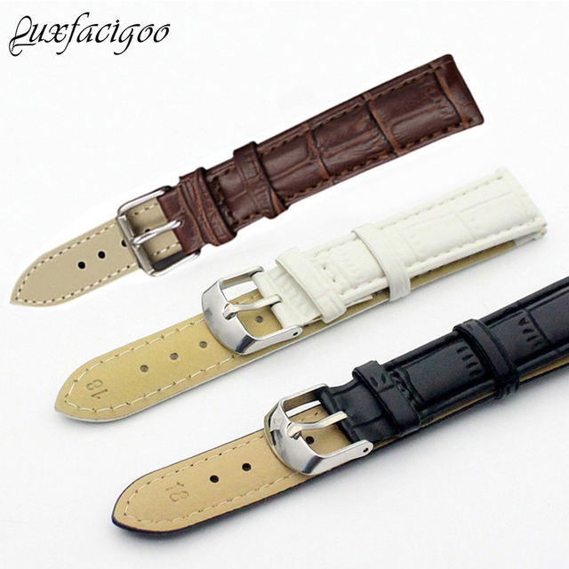 New Leisure Durable Fashion 18/20mm Croco Grain Style PU Leather Watch Band Stra