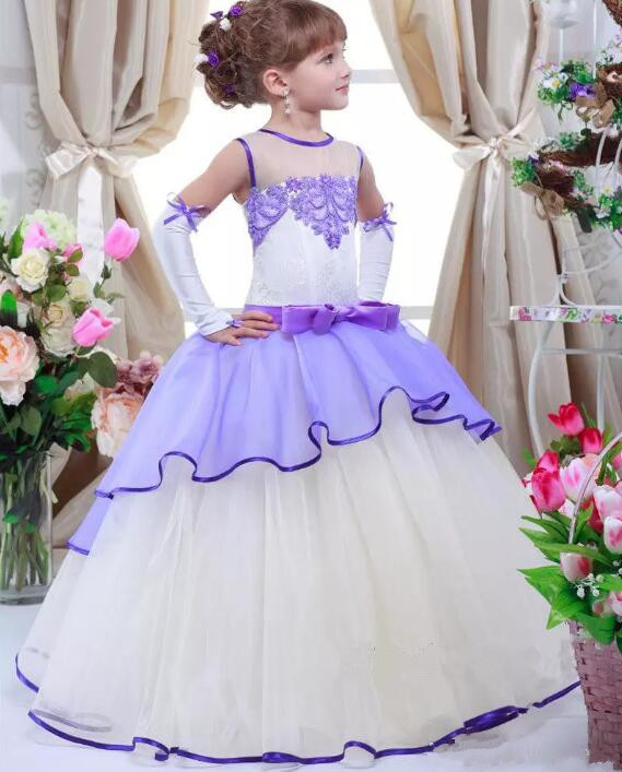 Custom Made Two-Tiered Flower Girl Dresses Appliques Kids Ball Gown First Communion Dress Princess Pageant Prom Gowns free shipping custom design princess dresses gown long prom dress pink white yellow flower girl dress pageant ball party dresses