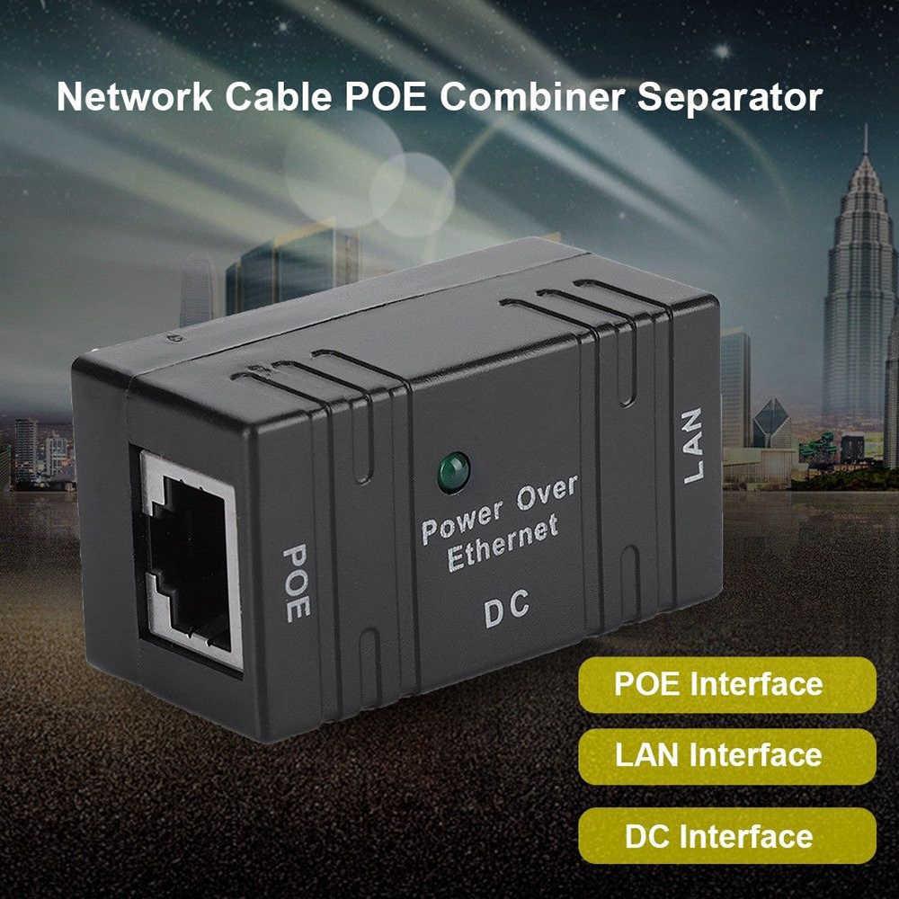 1 قطعة أسود RJ45 محول تغذية الطاقة عبر شبكة إيثرنت الفاصل التبديل محول الطاقة للكاميرا HIKVISION داهوا IP