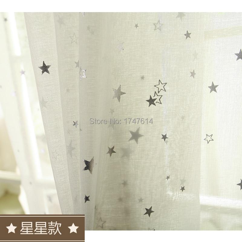 Estrellas de Estilo coreano algodón de Lino blanco de gasa cortina