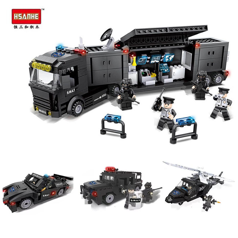 HSH Compatible Legoe city Compatible Lepine urban police Helicopter Truck Armored Car SWAT Building Blocks Bricks Toys gifts