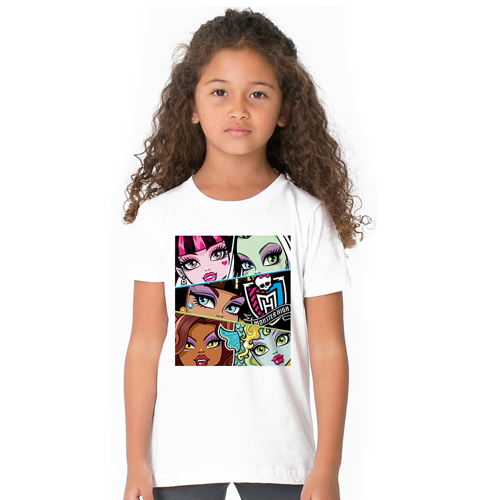 1-12Y Girls Monster T Shirt Kids Party Monster T-shirt Girls Clothing Ever After High Tshirt Girl Clothes Tops Tees