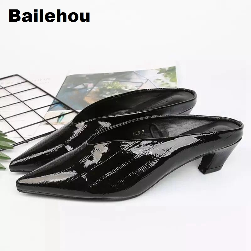 Bailehou Summer Causal Shoes Low Heel Mules Outside Slippers Female Footwear Slip On Slides Pointed Toe Ladies Shoes Chaussure