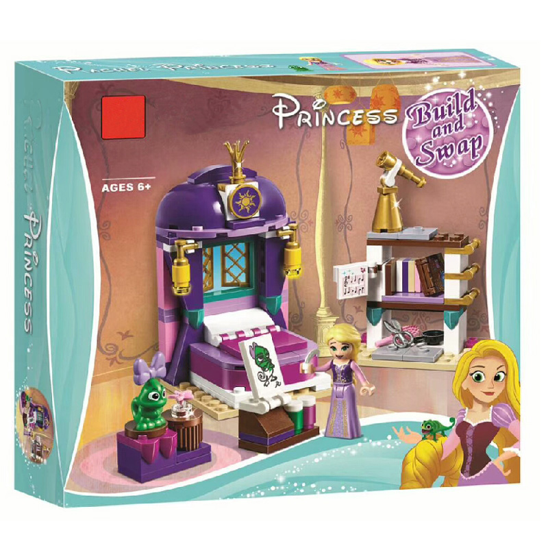 Bela Princess Girl 25017 Rapunzel Castle Bedroom Building Blocks Toys For Girl Gift Friends 41156