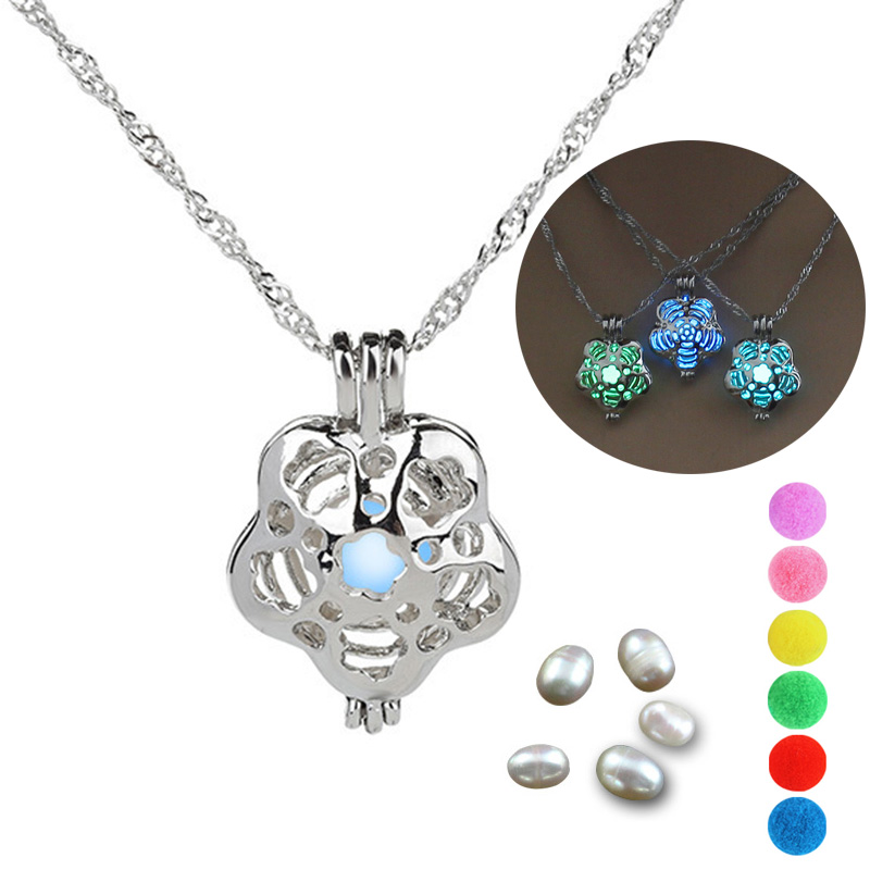 Pearl cage Rose Flower necklace pendant essential oils diffuser locket for luminous ball glowing ball oyster pearl women girl locket