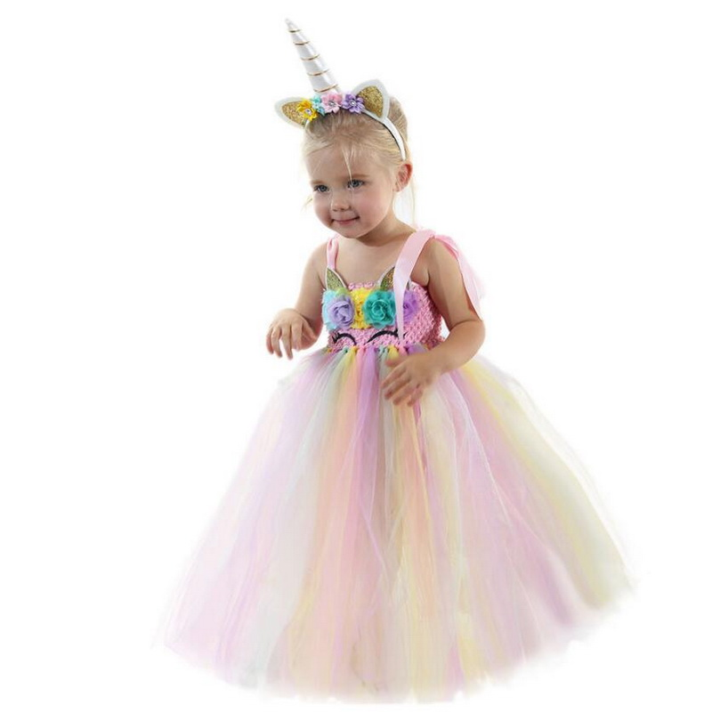 Pink Unicorn Costumes With Hair Band Princess Girls Party Tutu Dress Children Kids Halloween Unicorn Costume Disfraz Unicornio in Girls Costumes from Novelty Special Use