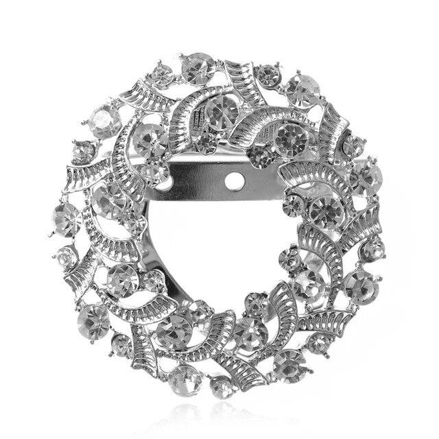 Women Custom Shawl Ring Clip Scarves Fastener Crystal Silk Scarf Buckle Brooch Wedding Fashion Jewelry Female Classic Gift