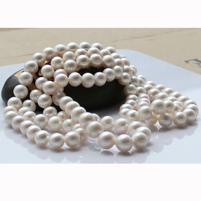 fine JEWELRY natural white freshwater beads 8-9mm pearl necklace round genuine long sweater chain 50INCH