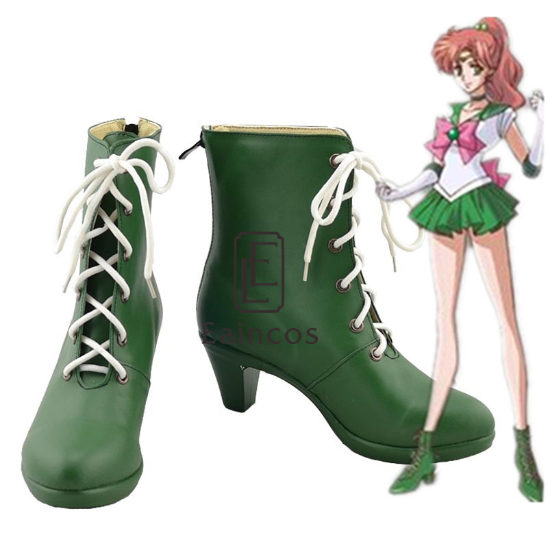Anime Sailor Moon Sailor Jupiter Cosplay Party Shoes Green Boots Custom made