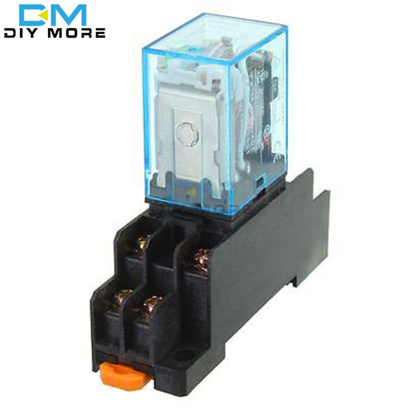 Coil Power Relay 12V DC Miniature Relay DPDT 8 Pins 10A 240VAC LY2 LY2 JQX-13F With PTF08A Socket Base hh52pl dc 220v coil 8 pins dpdt green led indicator light power relay 5 pcs free shipping