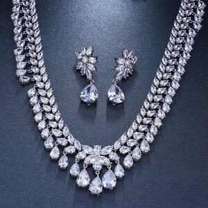 Image 5 - Emmaya יוקרה מעוקב Zirconia סטי תכשיטי כלה סטי שרשרת תכשיטי מסיבת חתונה יהלומים מלאכותיים גביש דמעת